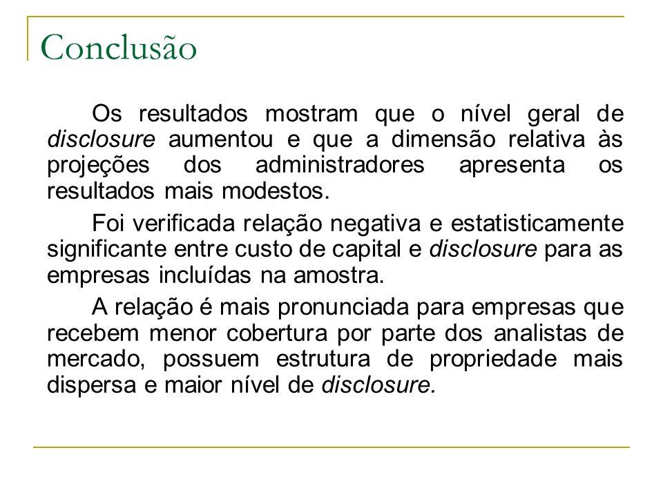Conclusão Os resultados mostram que o nível geral de disclosure aumentou e que a dimensão relativa às projeções dos administradores apresenta os resul