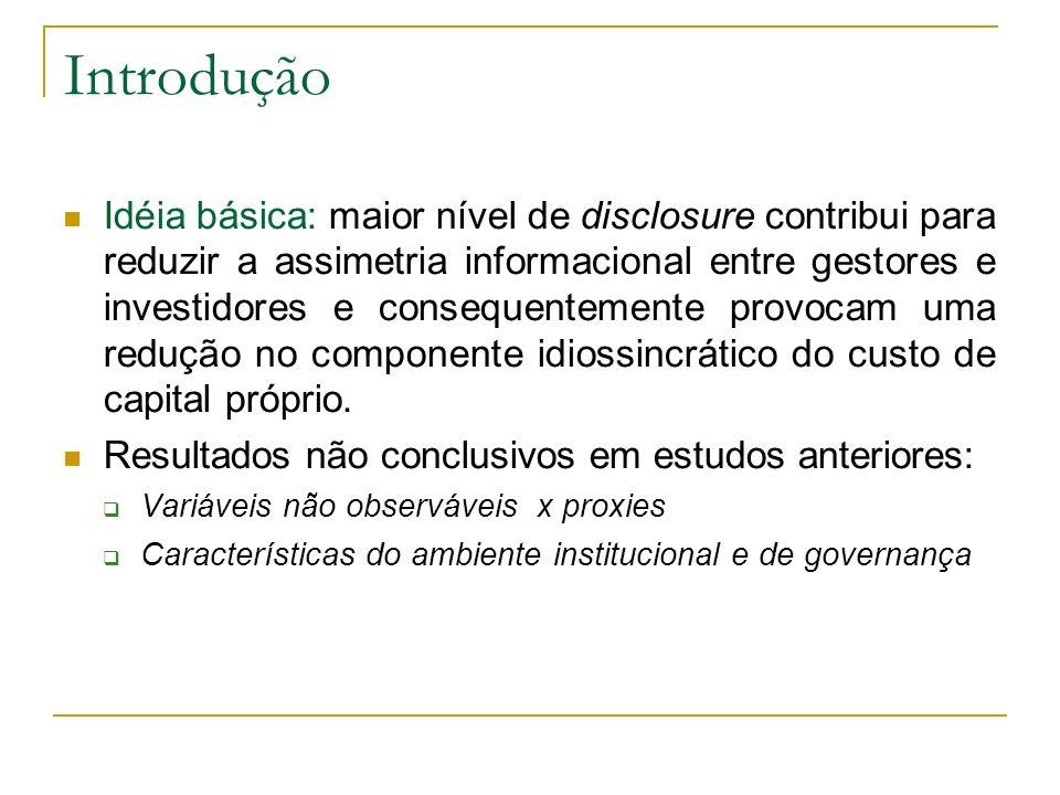 Introdução Idéia básica: maior nível de disclosure contribui para reduzir a assimetria informacional entre gestores e investidores e consequentemente