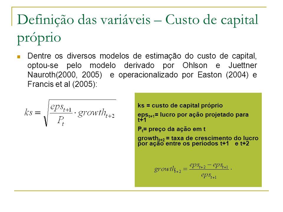 Definição das variáveis – Custo de capital próprio Dentre os diversos modelos de estimação do custo de capital, optou-se pelo modelo derivado por Ohls