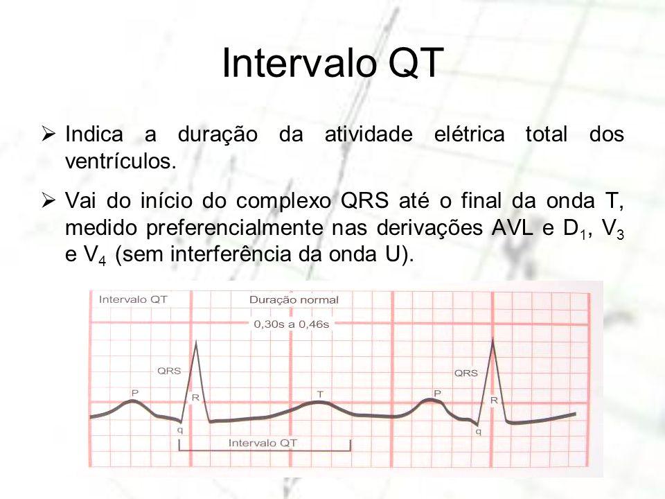 Intervalo QT Indica a duração da atividade elétrica total dos ventrículos. Vai do início do complexo QRS até o final da onda T, medido preferencialmen