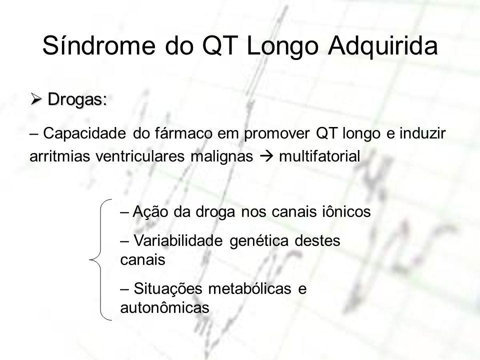 Síndrome do QT Longo Adquirida Drogas: Drogas: – Capacidade do fármaco em promover QT longo e induzir arritmias ventriculares malignas multifatorial –
