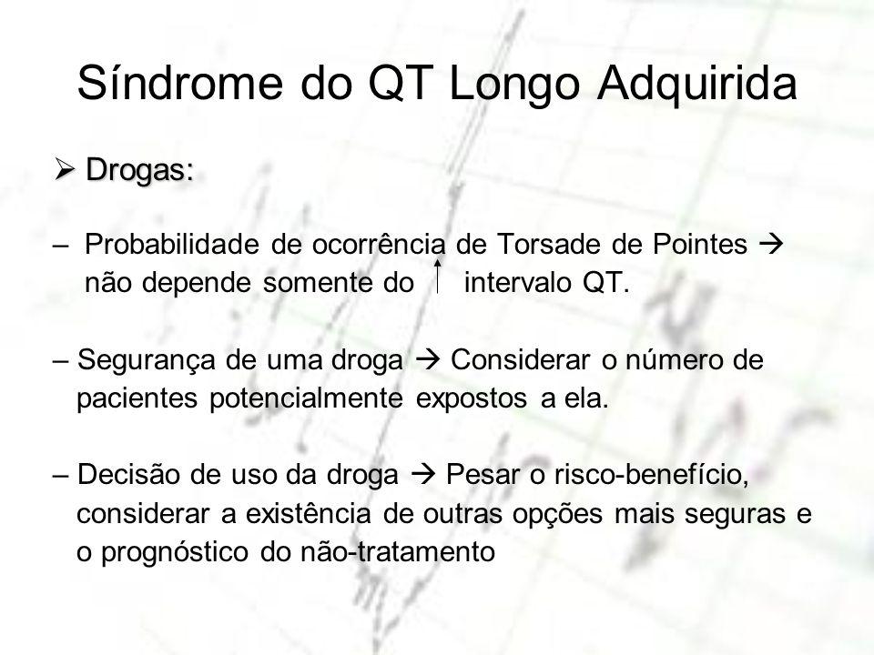 Síndrome do QT Longo Adquirida Drogas: Drogas: – Probabilidade de ocorrência de Torsade de Pointes não depende somente do intervalo QT. – Segurança de