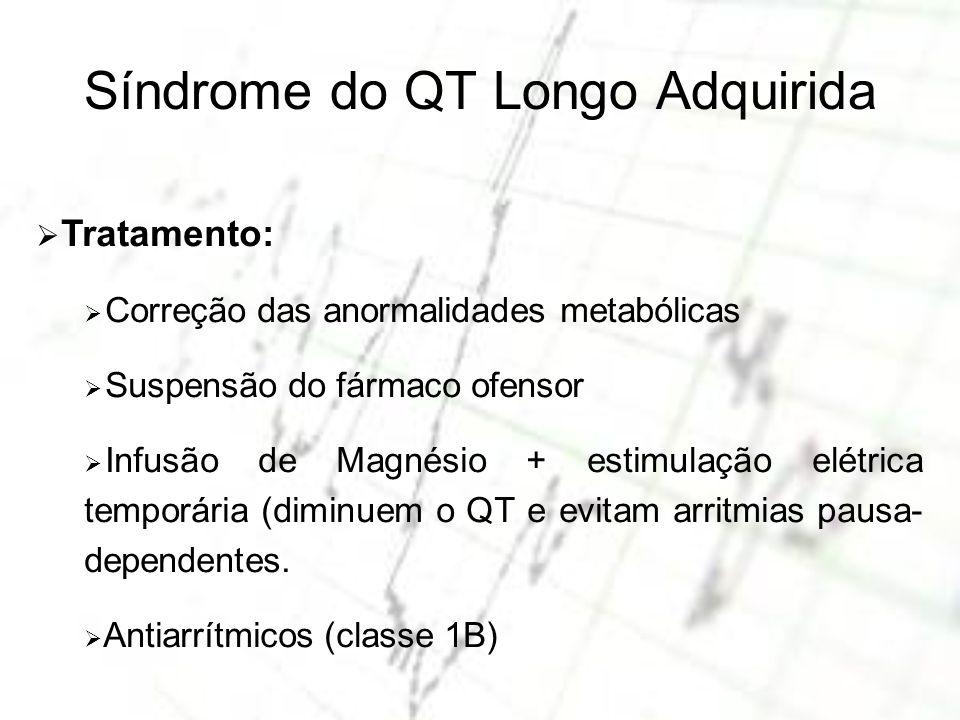 Síndrome do QT Longo Adquirida Tratamento: Correção das anormalidades metabólicas Suspensão do fármaco ofensor Infusão de Magnésio + estimulação elétr