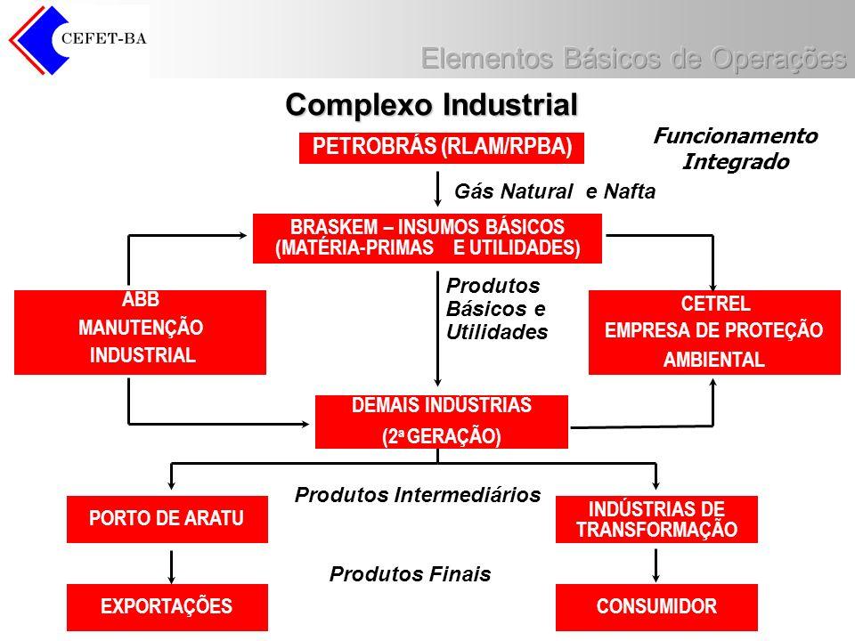 Complexo Industrial Funcionamento Integrado PETROBRÁS (RLAM/RPBA) BRASKEM – INSUMOS BÁSICOS (MATÉRIA-PRIMAS E UTILIDADES) Gás Natural e Nafta ABB MANU