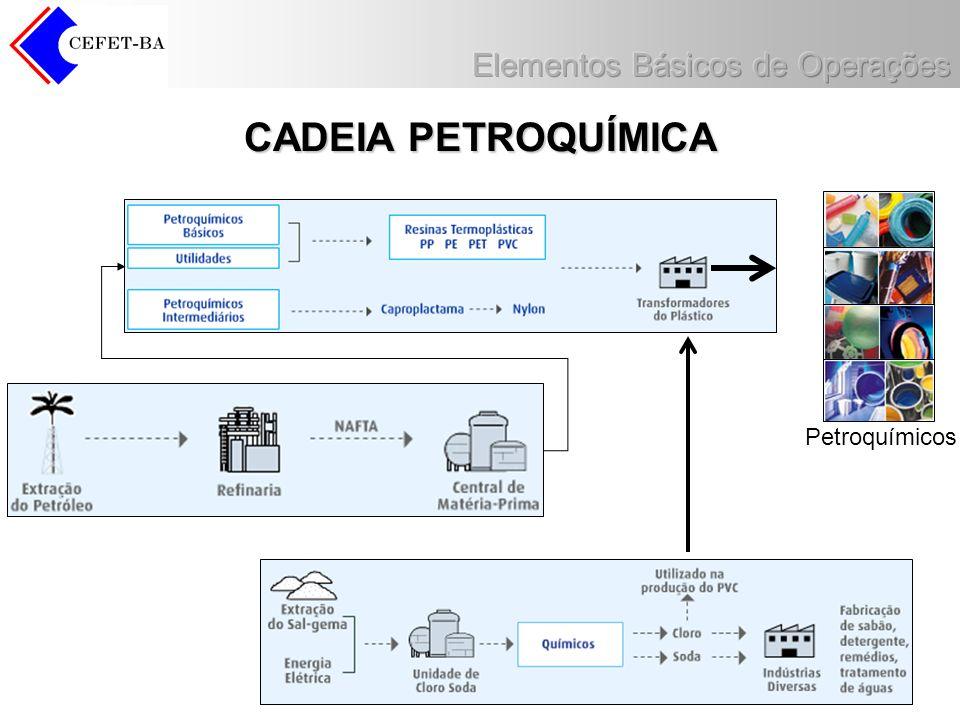 Capacidade da BRASKEM Camaçari Central Petroquímica: –1,200 milhão t/ano de eteno – 590 mil t/ano de propeno –163 mil t/ano de butadieno –445 mil t/ano de benzeno –55 mil t/ano de tolueno –64 mil t/ano de orto-xileno –200 mil t/ano de para-xileno –80 mil t/ano de xileno misto –24 mil t/ano de buteno 1 –18 mil t/ano de isopreno –19 mil t/ano de DCPD (Diciclopentedieno) –146 mil t/ano de MTBE –125 mil t/ano de Coperaf-1 Central de Utilidades: –Água clarificada :7.300 m 3 /h –Água desmineralizada: 2.000 m 3 /h –Vapor: 2.300 t/h –Energia elétrica: 523 MVA –Ar comprimido: 60.000Nm 3 / h Gasolina Automotiva –50 mil m3/mês Resinas - 2ª geração: –330 mil t/ano (PEAD) –30 mil t/ano de (PE-UHMW) –65 mil t/ano de PET –250 mil t/ano de PVC