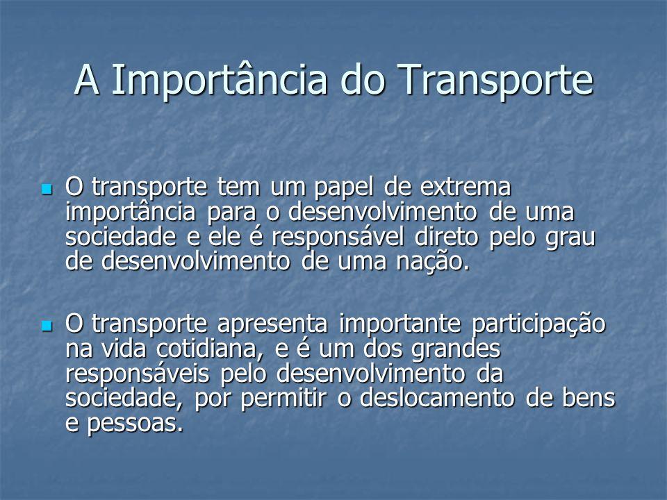 A Importância do Transporte O transporte tem um papel de extrema importância para o desenvolvimento de uma sociedade e ele é responsável direto pelo g