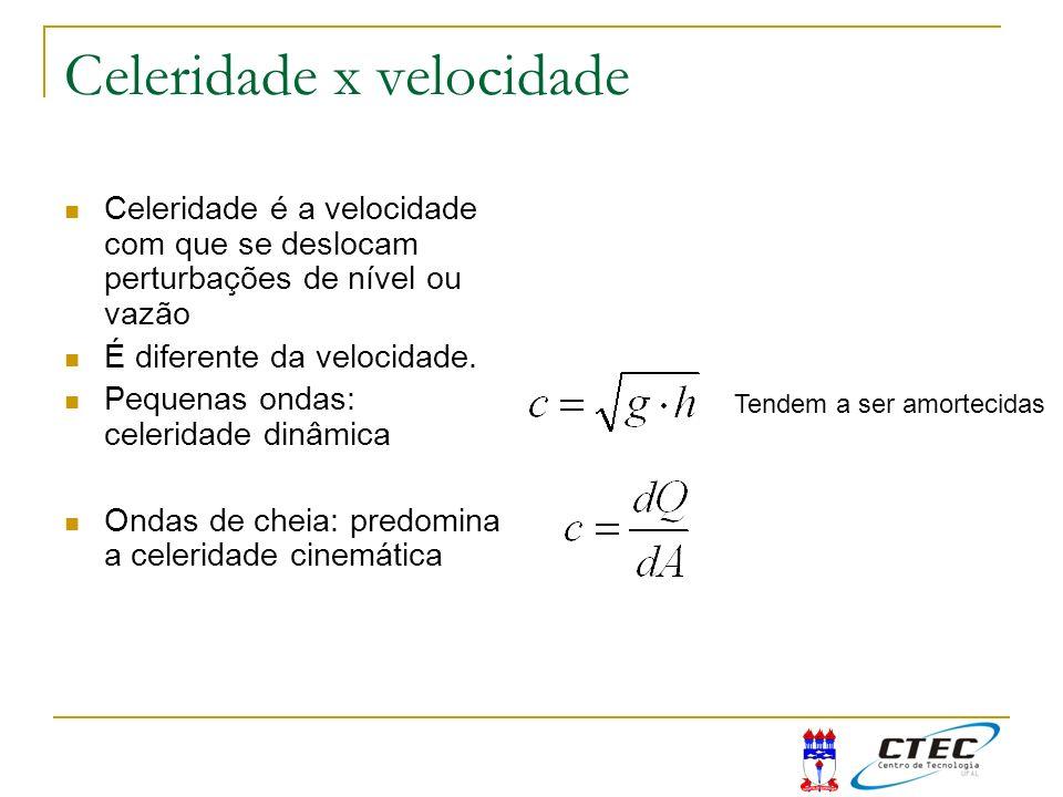 Celeridade x velocidade Celeridade é a velocidade com que se deslocam perturbações de nível ou vazão É diferente da velocidade. Pequenas ondas: celeri
