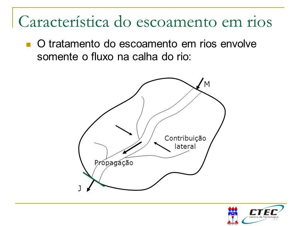 O tratamento do escoamento em rios envolve somente o fluxo na calha do rio: J M Contribuição lateral Propagação Característica do escoamento em rios