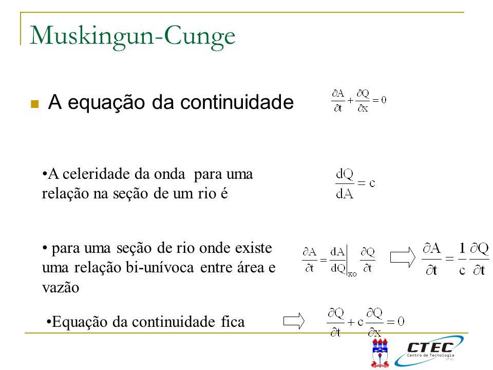 Muskingun-Cunge A equação da continuidade A celeridade da onda para uma relação na seção de um rio é para uma seção de rio onde existe uma relação bi-