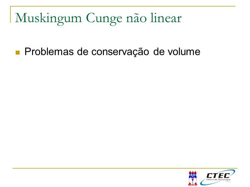Muskingum Cunge não linear Problemas de conservação de volume