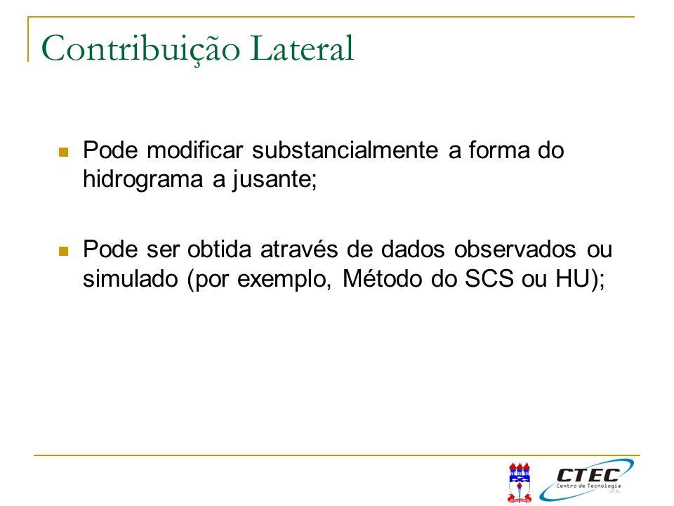 Para avaliar a influência é necessário que se conheça alguns eventos na seção de montante e de jusante do trecho de rio J (hidrograma conhecido) M (hidrograma conhecido) Contribuição lateral Contribuição Lateral