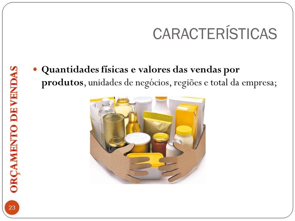 CARACTERÍSTICAS 23 Quantidades físicas e valores das vendas por produtos, unidades de negócios, regiões e total da empresa;