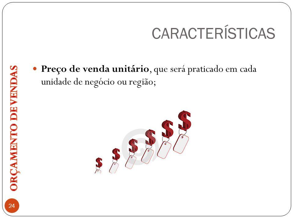 CARACTERÍSTICAS 24 Preço de venda unitário, que será praticado em cada unidade de negócio ou região;