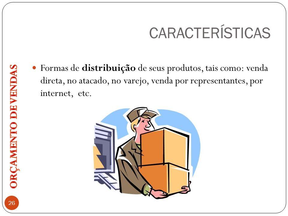 CARACTERÍSTICAS 26 Formas de distribuição de seus produtos, tais como: venda direta, no atacado, no varejo, venda por representantes, por internet, et