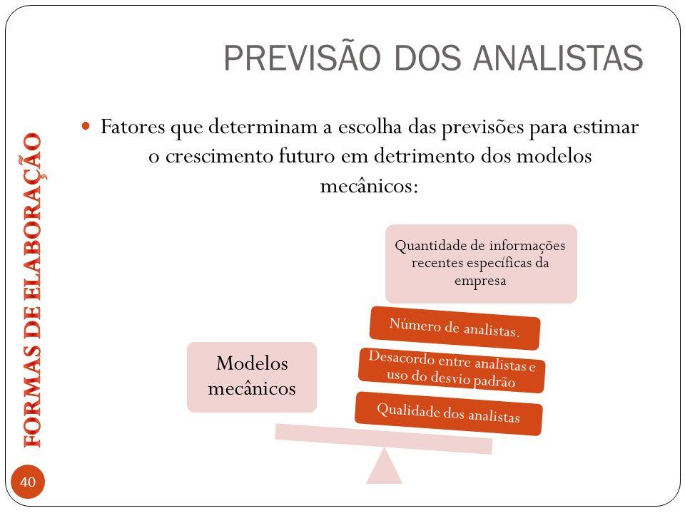 PREVISÃO DOS ANALISTAS 40 Fatores que determinam a escolha das previsões para estimar o crescimento futuro em detrimento dos modelos mecânicos: Modelo