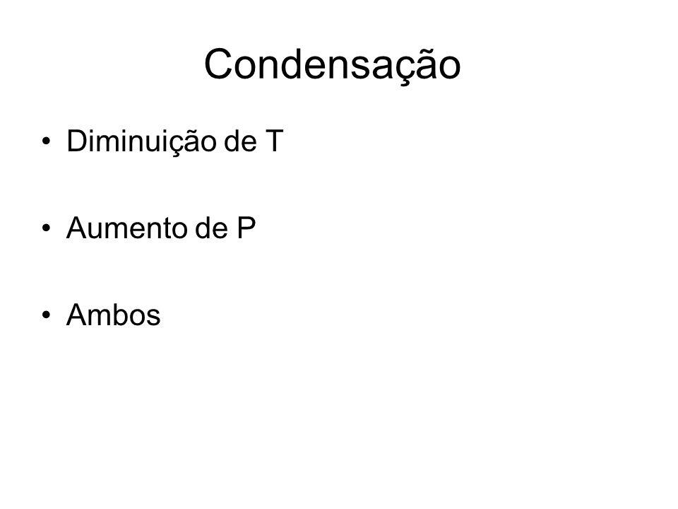 Condensação Diminuição de T Aumento de P Ambos