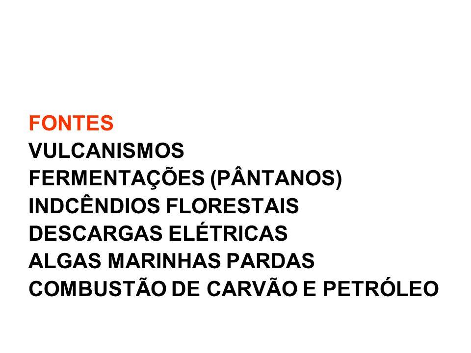 FONTES VULCANISMOS FERMENTAÇÕES (PÂNTANOS) INDCÊNDIOS FLORESTAIS DESCARGAS ELÉTRICAS ALGAS MARINHAS PARDAS COMBUSTÃO DE CARVÃO E PETRÓLEO