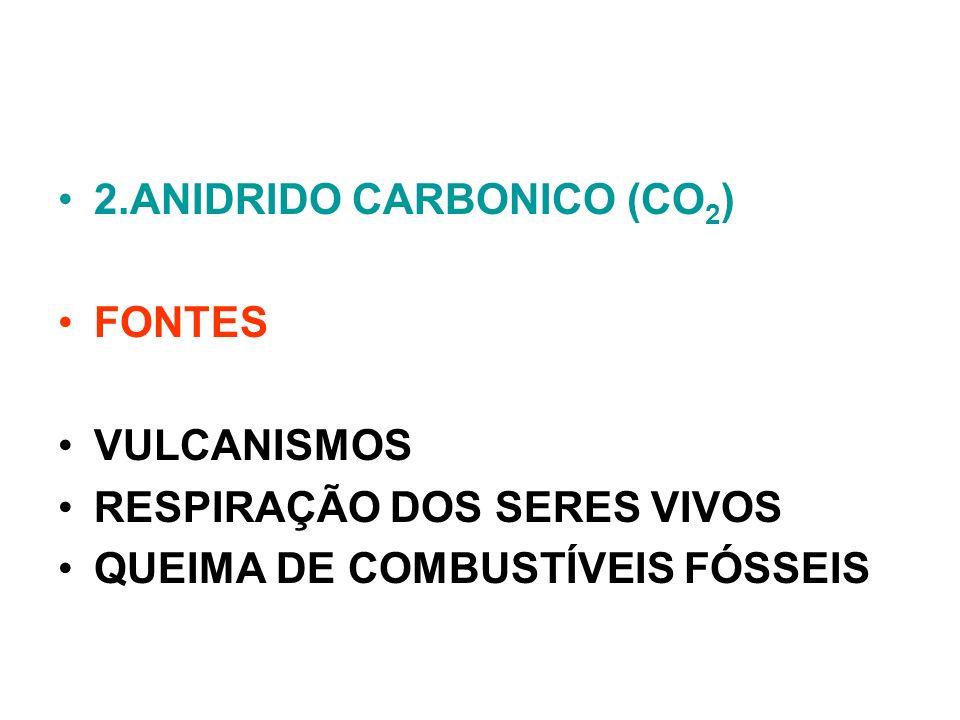 2.ANIDRIDO CARBONICO (CO 2 ) FONTES VULCANISMOS RESPIRAÇÃO DOS SERES VIVOS QUEIMA DE COMBUSTÍVEIS FÓSSEIS