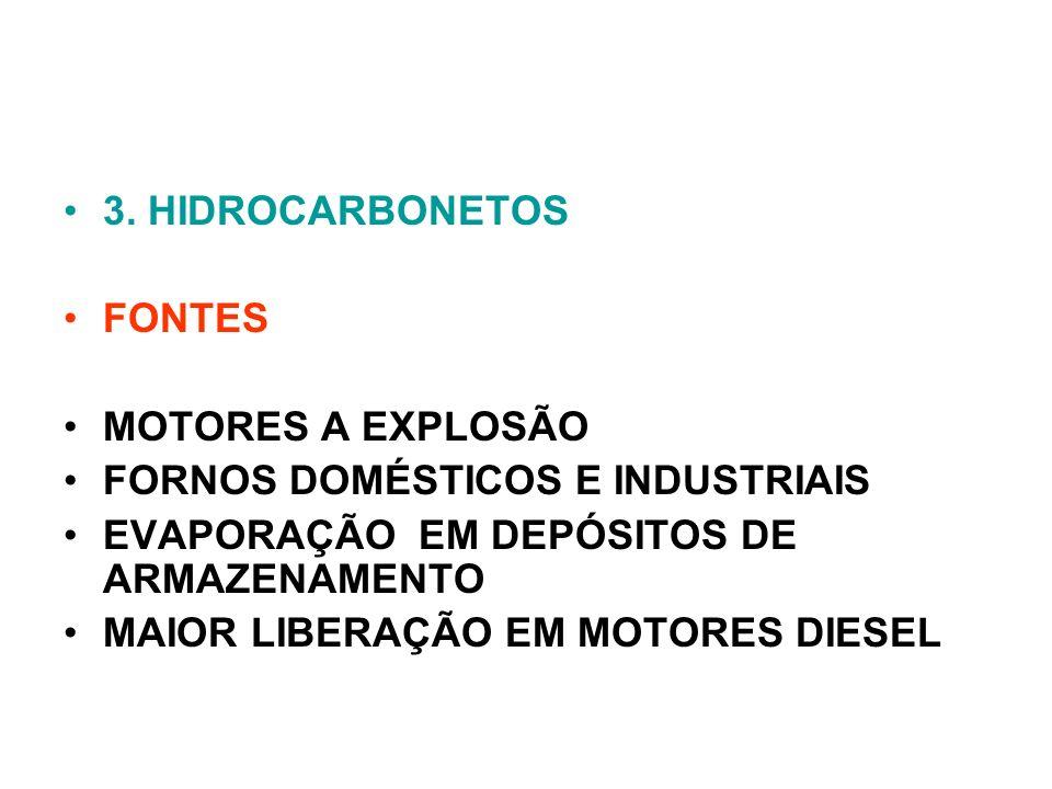 3. HIDROCARBONETOS FONTES MOTORES A EXPLOSÃO FORNOS DOMÉSTICOS E INDUSTRIAIS EVAPORAÇÃO EM DEPÓSITOS DE ARMAZENAMENTO MAIOR LIBERAÇÃO EM MOTORES DIESE