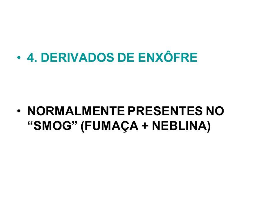 4. DERIVADOS DE ENXÔFRE NORMALMENTE PRESENTES NO SMOG (FUMAÇA + NEBLINA)