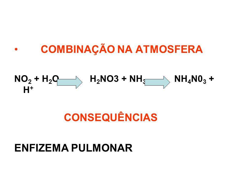 COMBINAÇÃO NA ATMOSFERA NO 2 + H 2 O H 2 NO3 + NH 3 NH 4 N0 3 + H + CONSEQUÊNCIAS ENFIZEMA PULMONAR