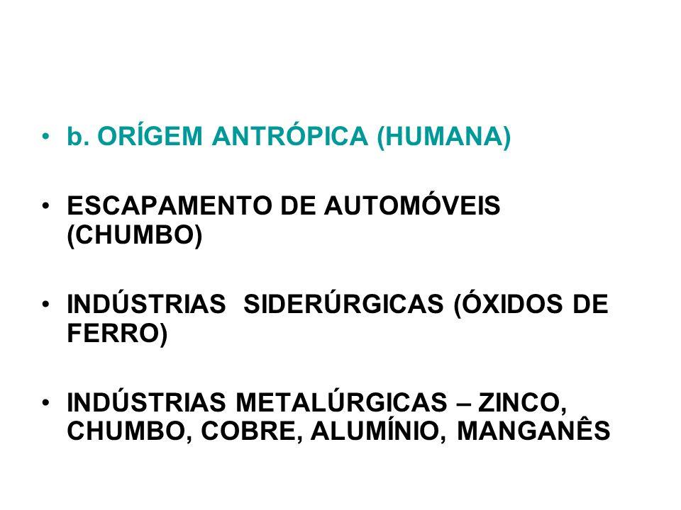 b. ORÍGEM ANTRÓPICA (HUMANA) ESCAPAMENTO DE AUTOMÓVEIS (CHUMBO) INDÚSTRIAS SIDERÚRGICAS (ÓXIDOS DE FERRO) INDÚSTRIAS METALÚRGICAS – ZINCO, CHUMBO, COB