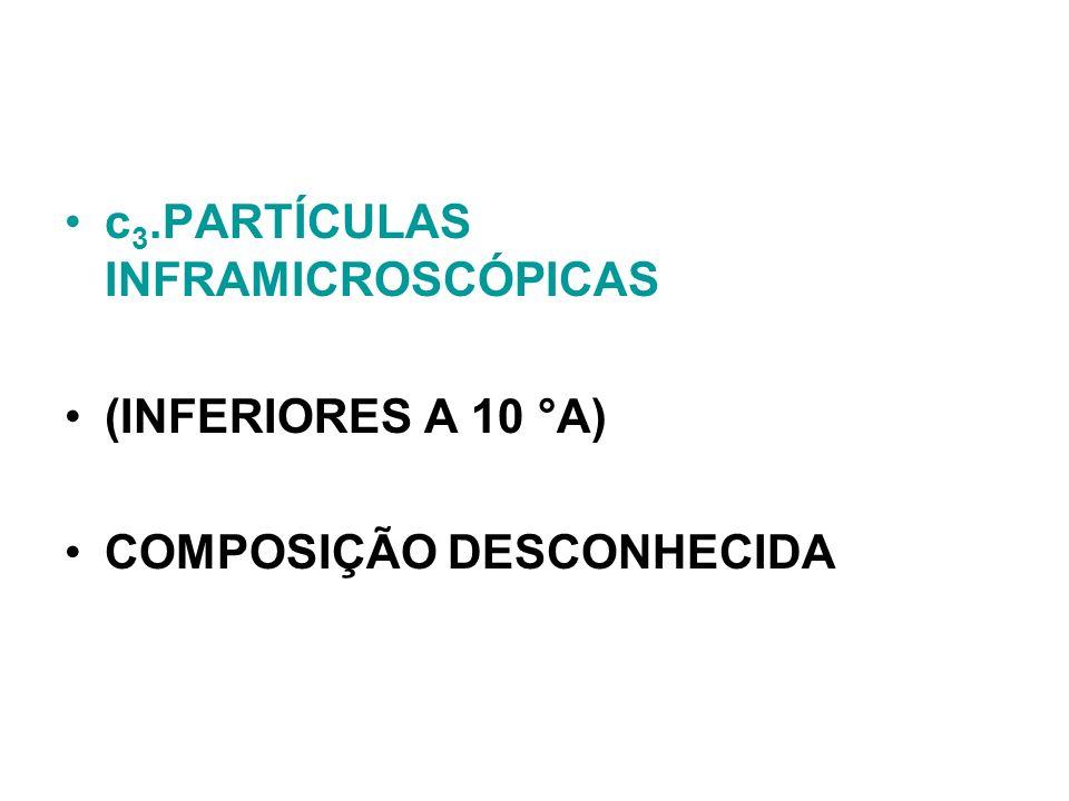 c 3.PARTÍCULAS INFRAMICROSCÓPICAS (INFERIORES A 10 °A) COMPOSIÇÃO DESCONHECIDA