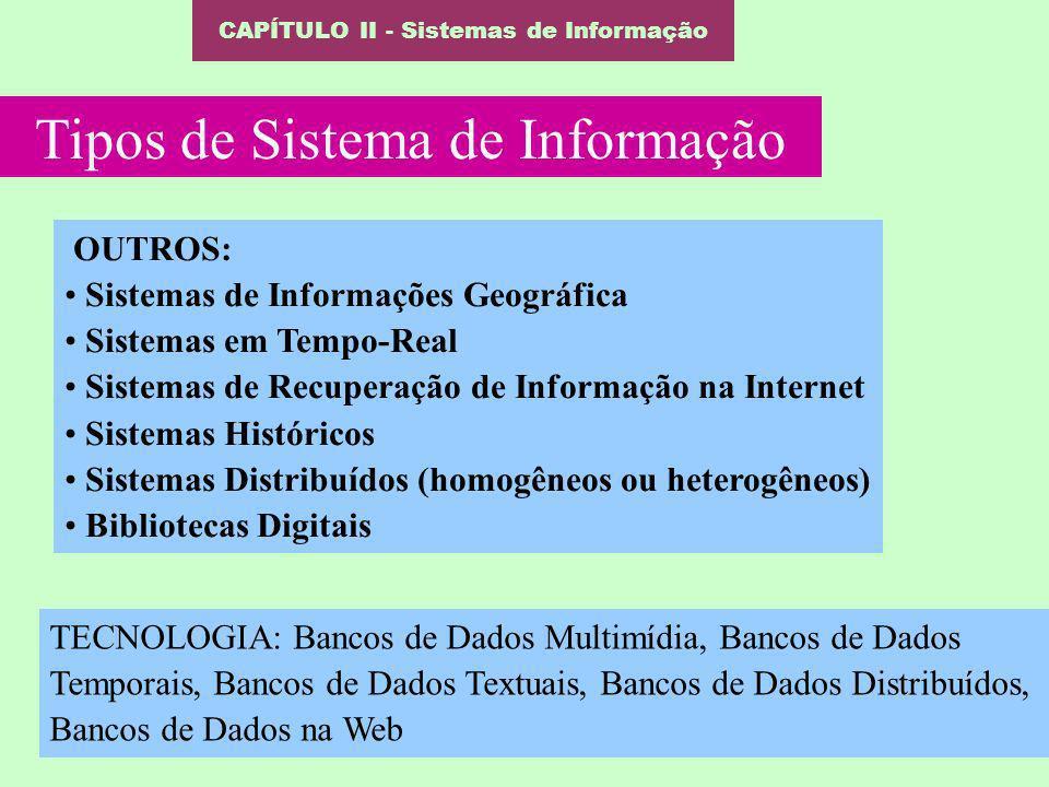 CAPÍTULO II - Sistemas de Informação Tipos de Sistema de Informação OUTROS: Sistemas de Informações Geográfica Sistemas em Tempo-Real Sistemas de Recu