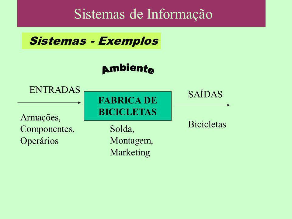 Sistemas - Exemplos FABRICA DE BICICLETAS Armações, Componentes, Operários SAÍDAS Sistemas de Informação Bicicletas Solda, Montagem, Marketing ENTRADA