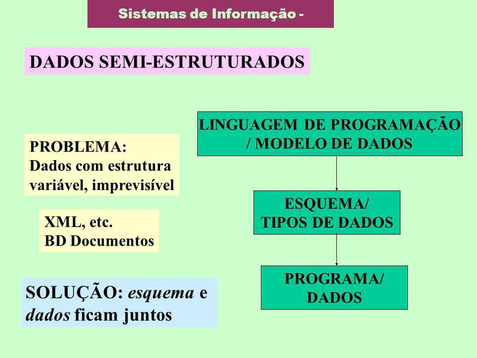 Sistemas de Informação - DADOS SEMI-ESTRUTURADOS ESQUEMA/ TIPOS DE DADOS PROGRAMA/ DADOS LINGUAGEM DE PROGRAMAÇÃO / MODELO DE DADOS PROBLEMA: Dados co