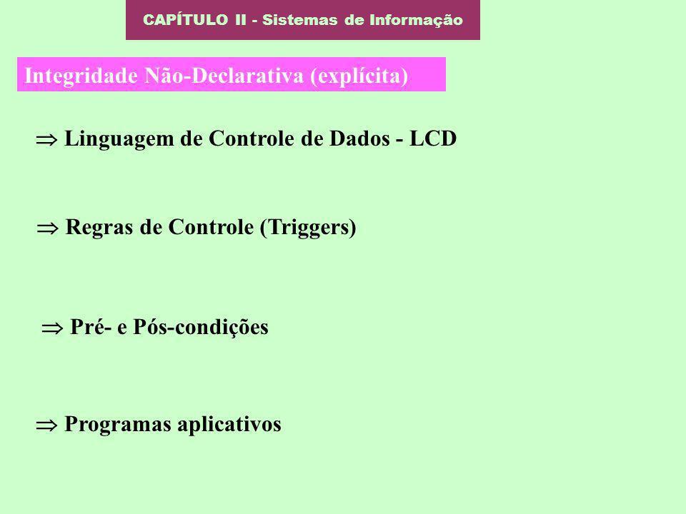 CAPÍTULO II - Sistemas de Informação Integridade Não-Declarativa (explícita) Linguagem de Controle de Dados - LCD Pré- e Pós-condições Programas aplic
