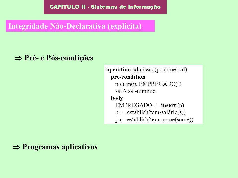 CAPÍTULO II - Sistemas de Informação Integridade Não-Declarativa (explícita) Pré- e Pós-condições Programas aplicativos operation admissão(p, nome, sa