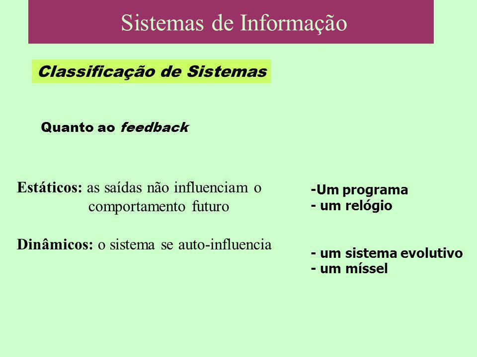Classificação de Sistemas Quanto ao feedback Estáticos: as saídas não influenciam o comportamento futuro Dinâmicos: o sistema se auto-influencia -Um p