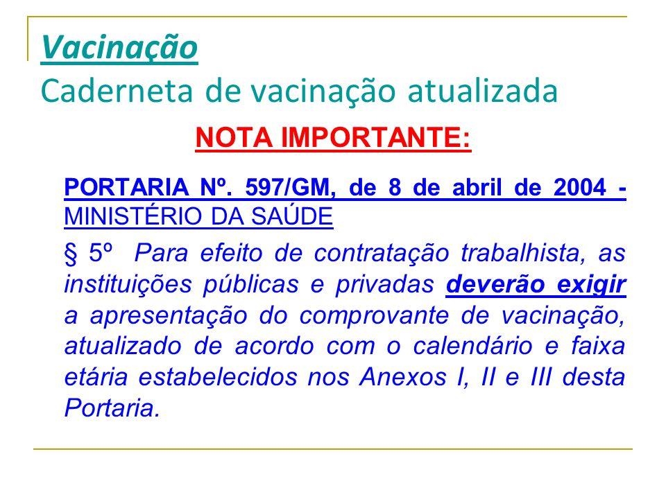 Vacinação Caderneta de vacinação atualizada NOTA IMPORTANTE: PORTARIA Nº. 597/GM, de 8 de abril de 2004 - MINISTÉRIO DA SAÚDE § 5º Para efeito de cont