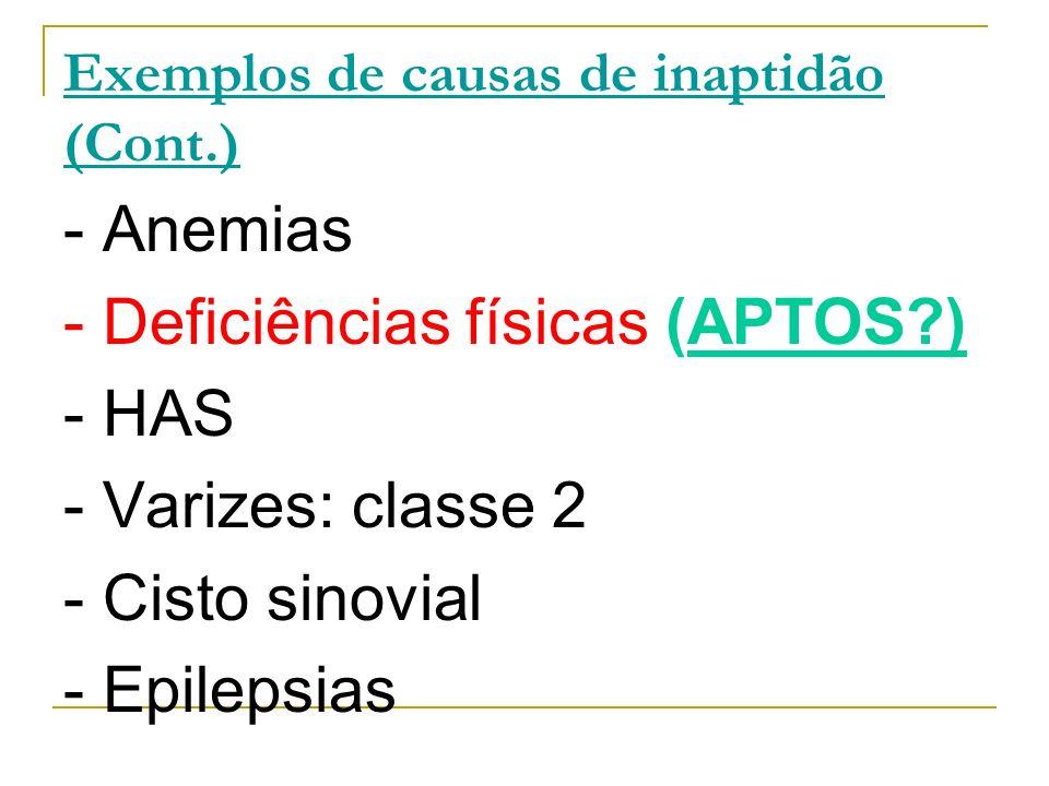 Exemplos de causas de inaptidão (Cont.) - Anemias - Deficiências físicas (APTOS?) - HAS - Varizes: classe 2 - Cisto sinovial - Epilepsias