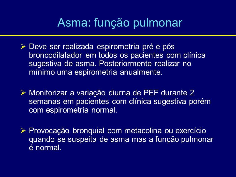 Deve ser realizada espirometria pré e pós broncodilatador em todos os pacientes com clínica sugestiva de asma. Posteriormente realizar no mínimo uma e