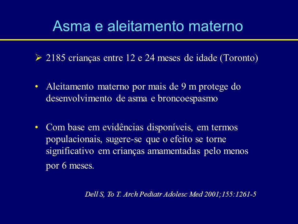 2185 crianças entre 12 e 24 meses de idade (Toronto) Aleitamento materno por mais de 9 m protege do desenvolvimento de asma e broncoespasmo Com base e