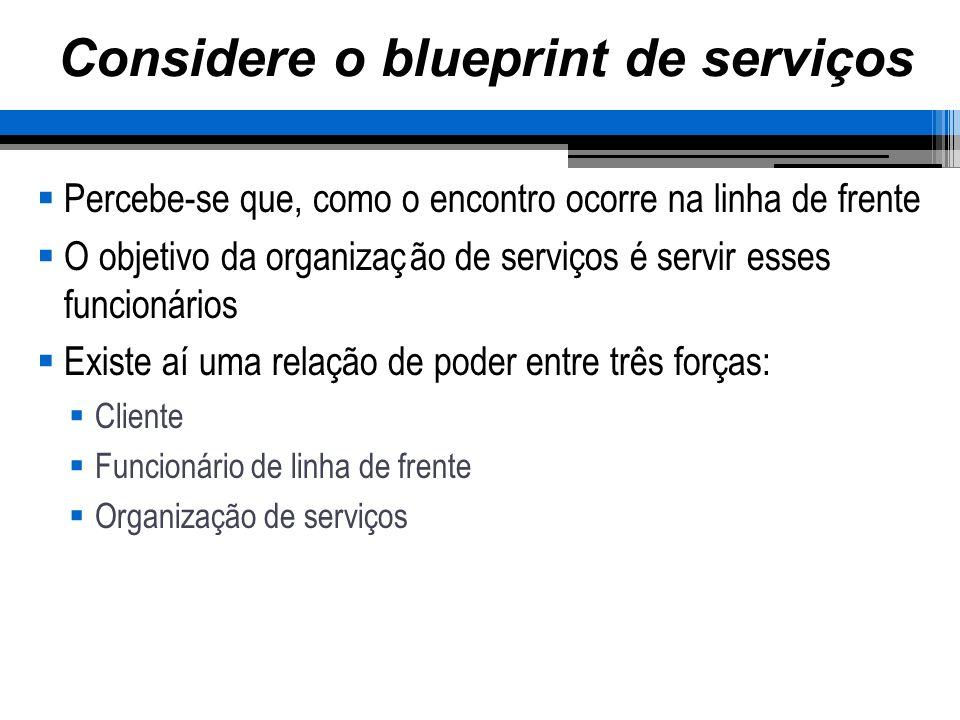 Considere o blueprint de serviços Percebe-se que, como o encontro ocorre na linha de frente O objetivo da organização de serviços é servir esses funci