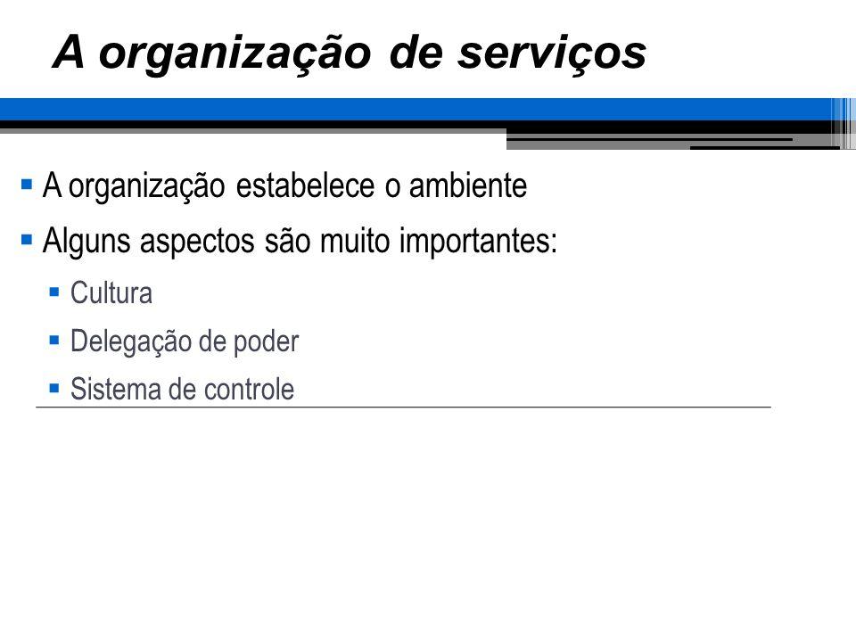A organização de serviços A organização estabelece o ambiente Alguns aspectos são muito importantes: Cultura Delegação de poder Sistema de controle Por que você escolhe uma empresa e não outra.