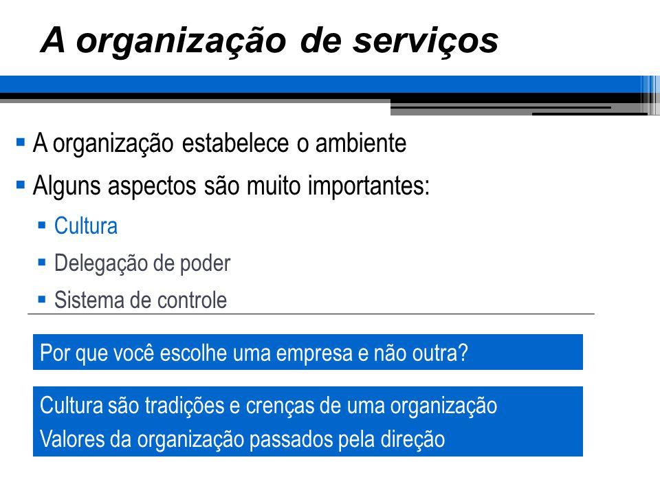 A organização de serviços A organização estabelece o ambiente Alguns aspectos são muito importantes: Cultura Delegação de poder Sistema de controle Po