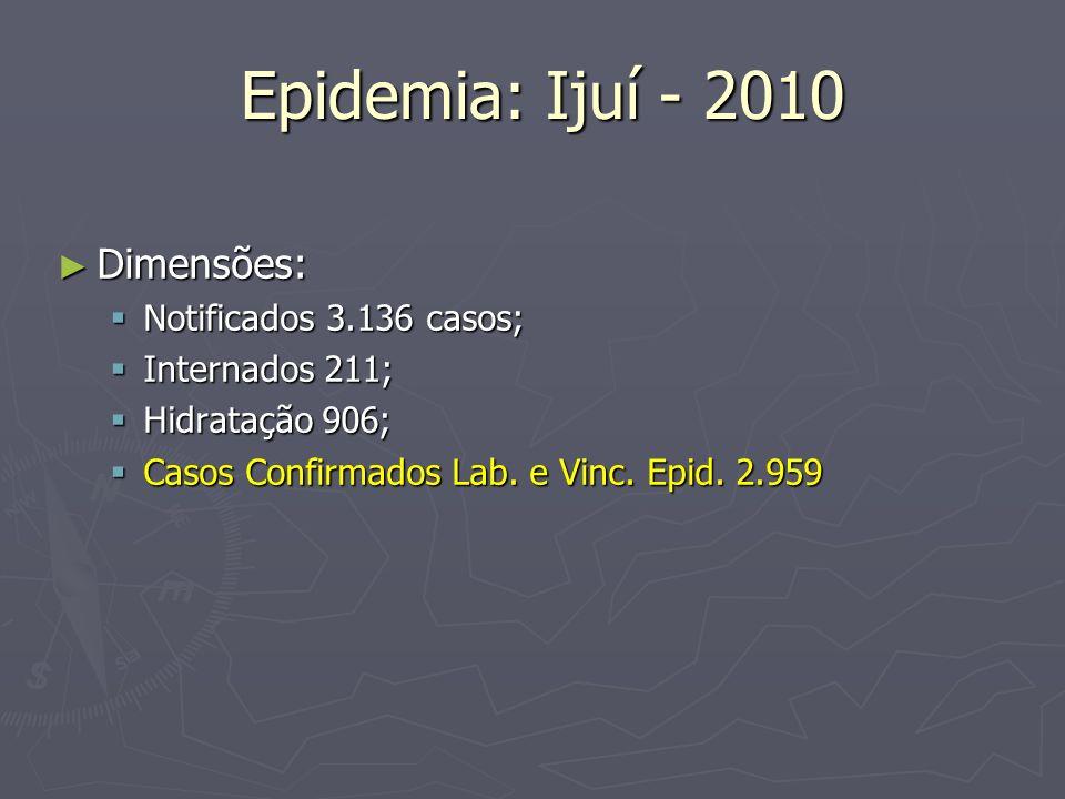 Epidemia: Ijuí - 2010 Epidemia: Ijuí - 2010 Dimensões: Dimensões: Notificados 3.136 casos; Notificados 3.136 casos; Internados 211; Internados 211; Hi