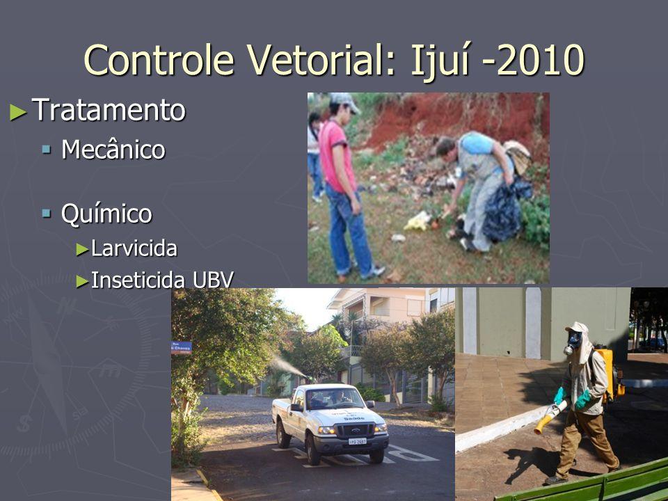 Controle Vetorial: Ijuí -2010 Tratamento Tratamento Mecânico Mecânico Químico Químico Larvicida Larvicida Inseticida UBV Inseticida UBV