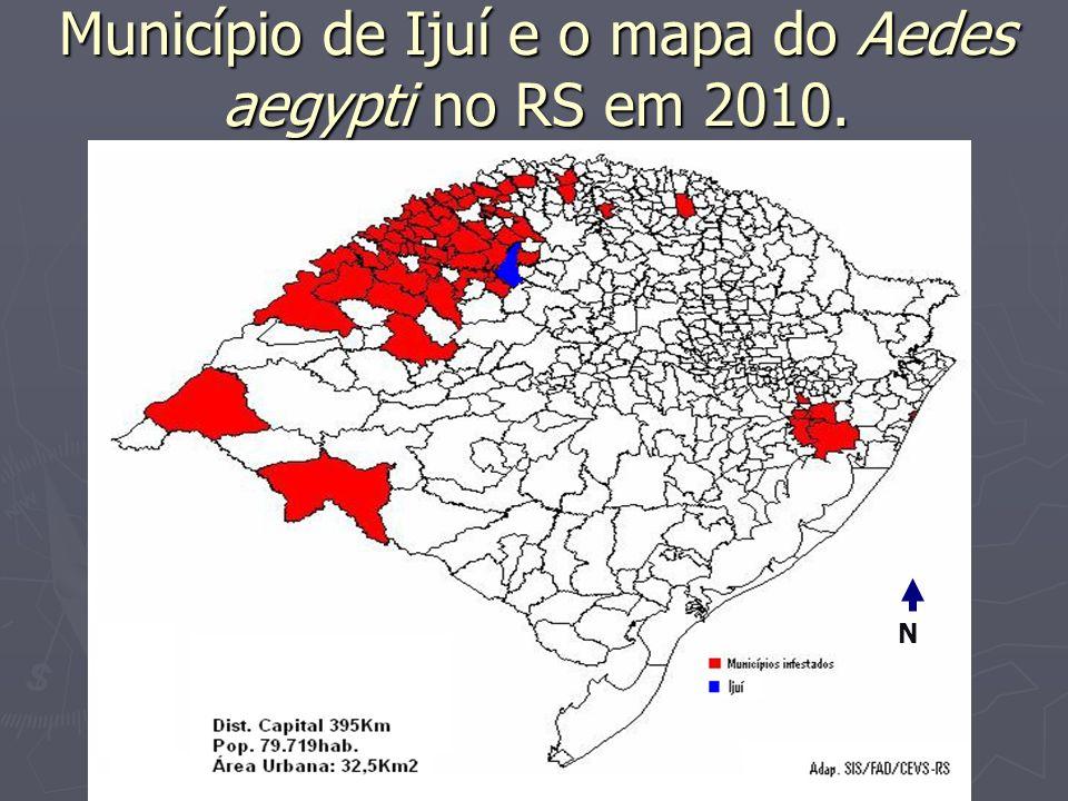Município de Ijuí e o mapa do Aedes aegypti no RS em 2010. N