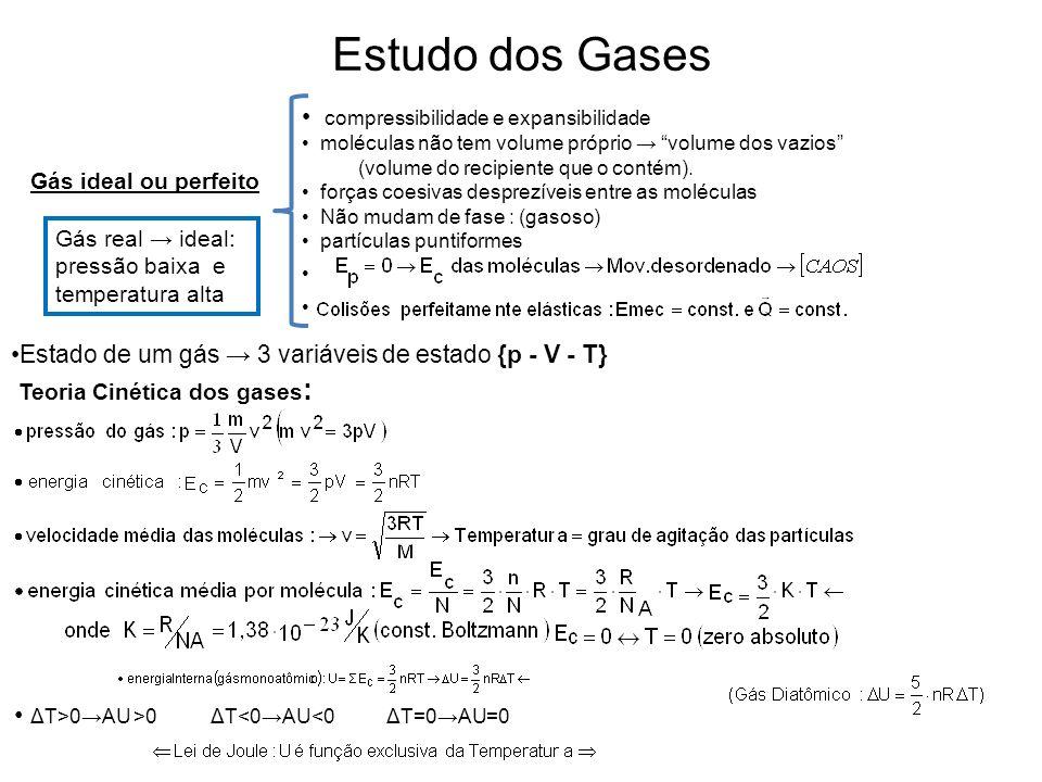 Estudo dos Gases compressibilidade e expansibilidade moléculas não tem volume próprio volume dos vazios (volume do recipiente que o contém). forças co