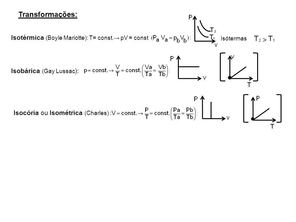 Isotérmica (Boyle Mariotte): T= const. pV = const Transformações: Isótermas Isobárica (Gay Lussac ): > Isocória ou Isométrica (Charles) :