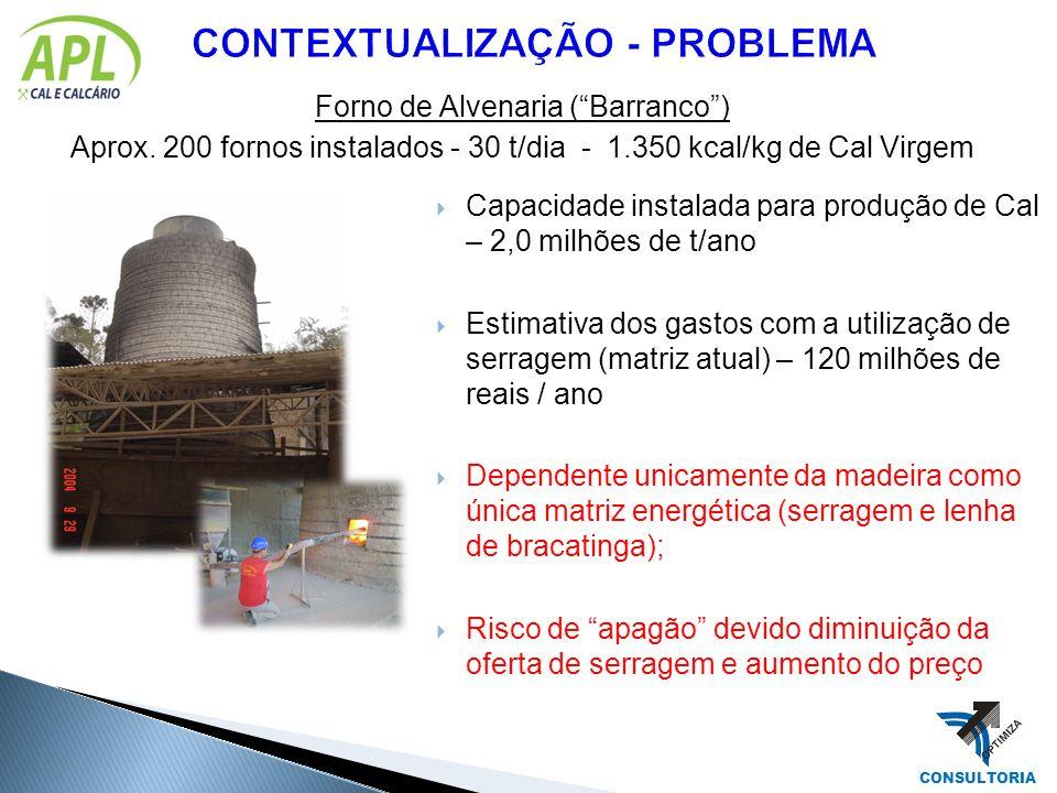 Forno de Alvenaria (Barranco) Aprox. 200 fornos instalados - 30 t/dia - 1.350 kcal/kg de Cal Virgem CONSULTORIA Capacidade instalada para produção de