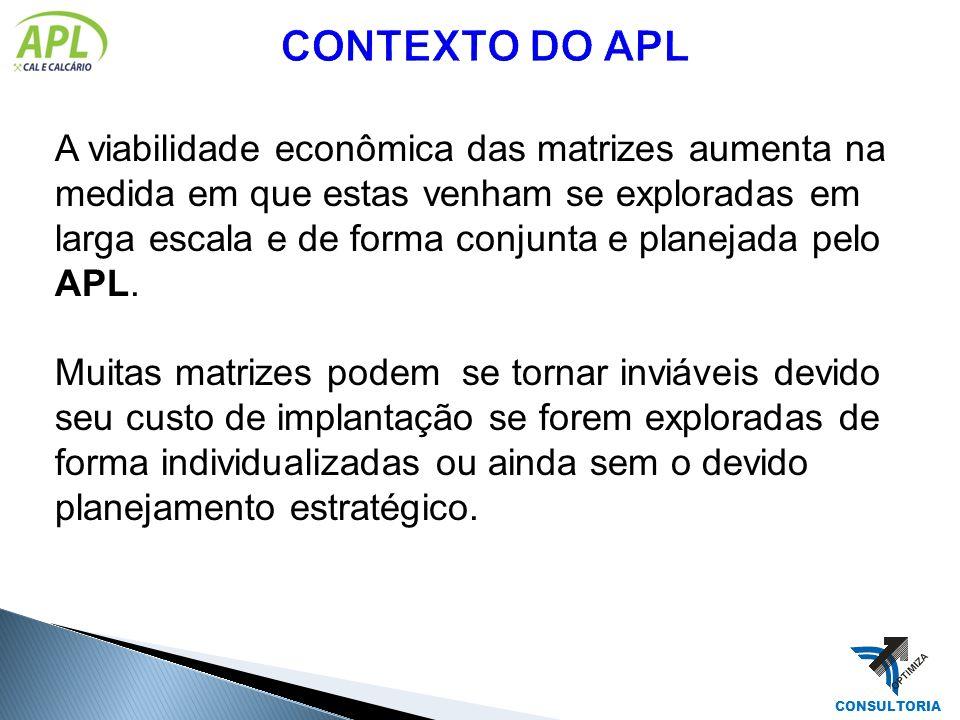 A viabilidade econômica das matrizes aumenta na medida em que estas venham se exploradas em larga escala e de forma conjunta e planejada pelo APL. Mui