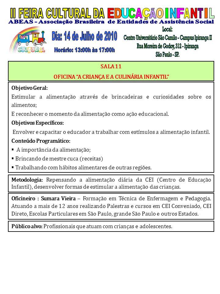 Oficineiro : Sumara Vieira – Formação em Técnica de Enfermagem e Pedagogia. Atuando a mais de 12 anos realizando Palestras e cursos em CEI Conveniado,