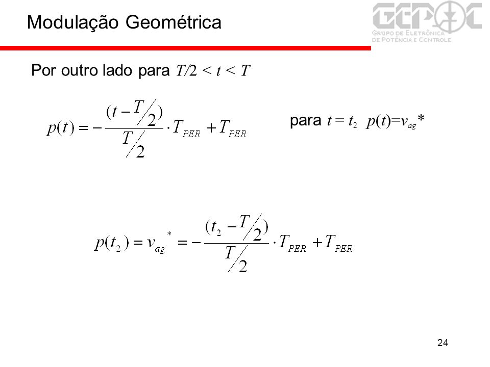 24 para t = t 2 p(t)=v ag * Por outro lado para T/2 < t < T Modulação Geométrica