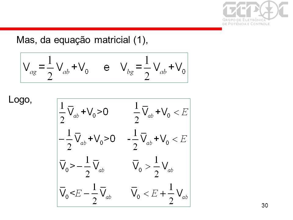 30 Mas, da equação matricial (1), Logo,